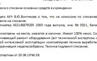 Протокол комиссии по списанию основных средств образец