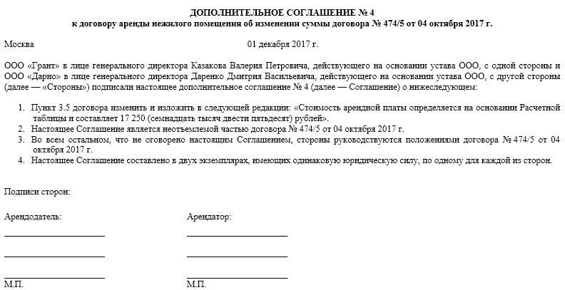 Соглашение об изменении цены договора образец