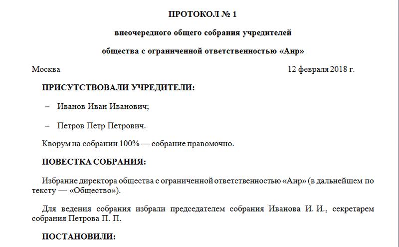 Решение о назначении генерального директора образец
