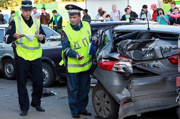 Осмотр места происшествия автомобиля