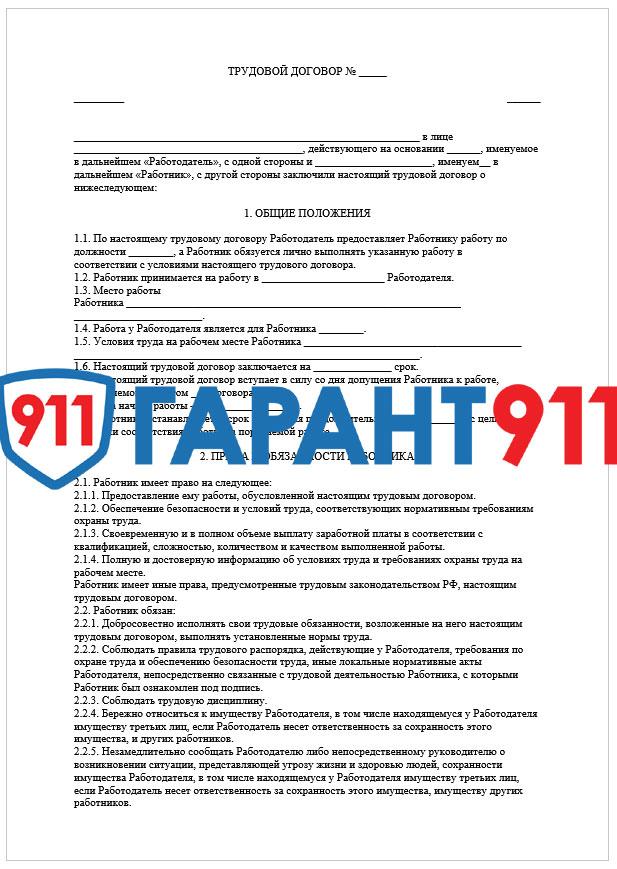 Образец трудового договора с водителем-экспедитором грузового автомобиля (2020 год)