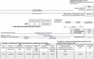 Акт о списании автотранспортных средств пример заполнения