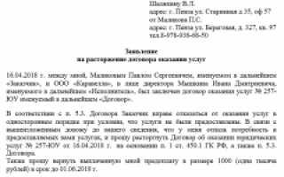 Уведомление о прекращении договора образец