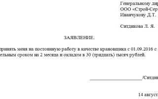 Образец написания заявления о приеме на работу