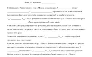 Протокол судебного заседания образец рб