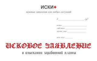 Исковое заявление о взыскании заработной платы образец