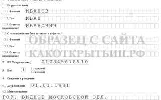 Образец заявления о государственной регистрации ип