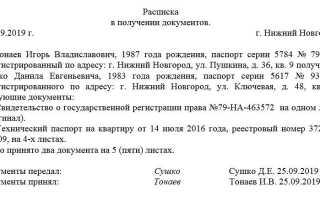 Расписка в получении документов в доу образец