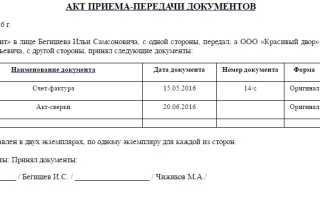 Акт приемки документов образец заполнения