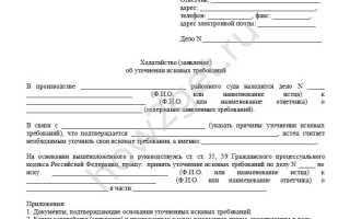 Заявление об уточнение исковых требований гпк образец