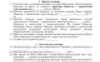 Трудовой договор генерального директора образец